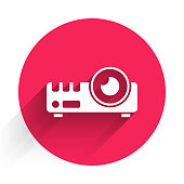 White Presentation, movie, film, media projector icon isolated with long shadow. Red circle button. Vector.