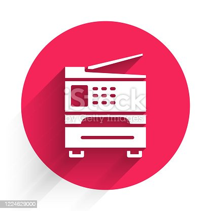 istock White Printer icon isolated with long shadow. Red circle button. Vector Illustration 1224629000