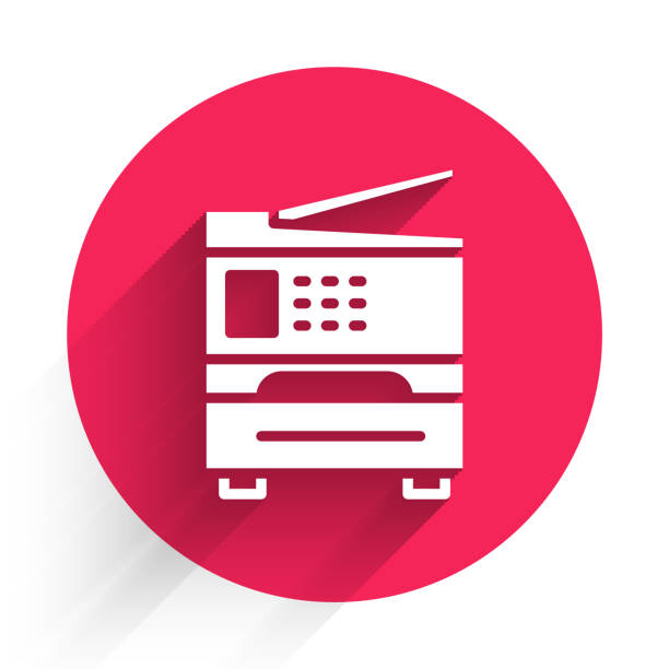 ilustrações de stock, clip art, desenhos animados e ícones de white printer icon isolated with long shadow. red circle button. vector illustration - ucrânia
