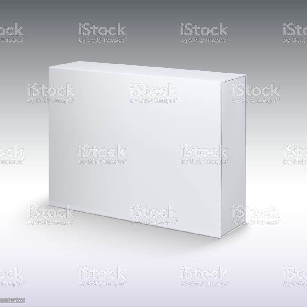 White product cardboard, package box mockup. vector art illustration