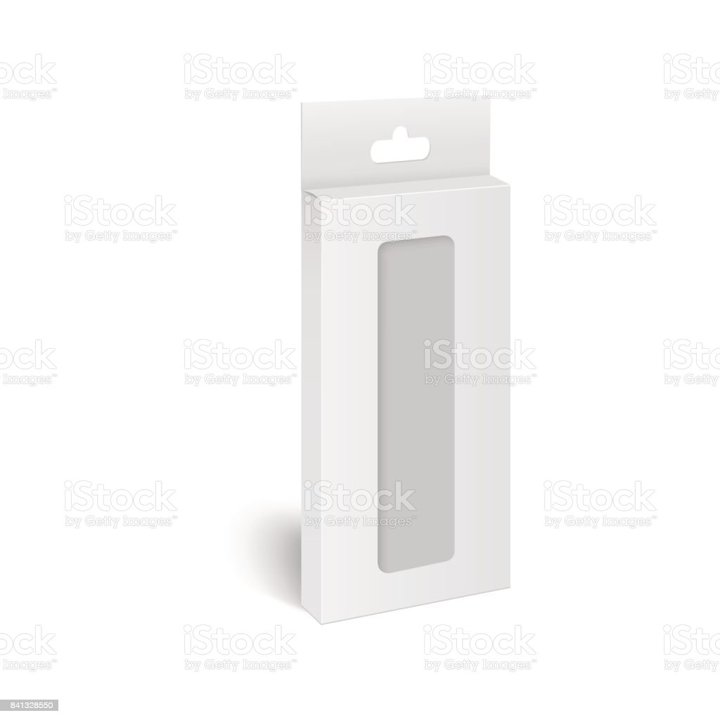 White Product Package Box With Window Illustration. Vector mock up template ready for your design. vector art illustration