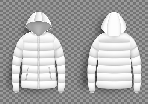 White puffer jacket mockup set, vector isolated illustration. Realistic modern hooded down jacket, front and back view.