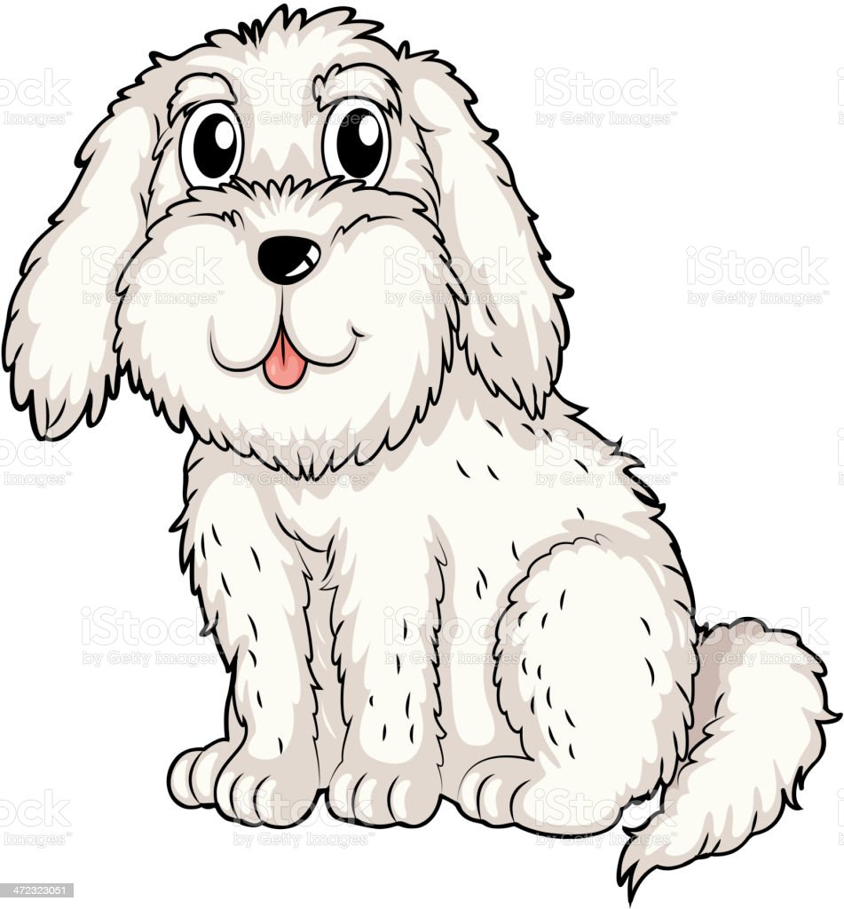 white puppy inside a doghouse royalty-free stock vector art