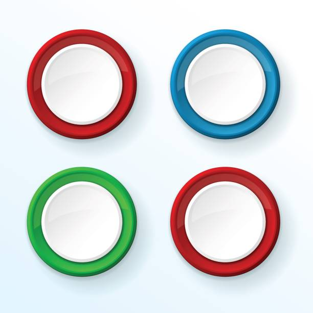 Bекторная иллюстрация White push buttons with colored frames