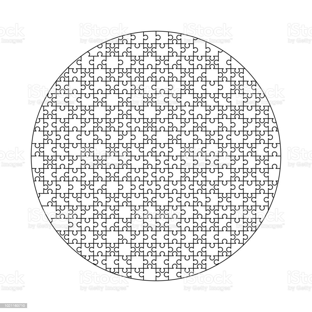 White Puzzles Pieces Arranged In A Circle Shape Jigsaw Puzzle ...