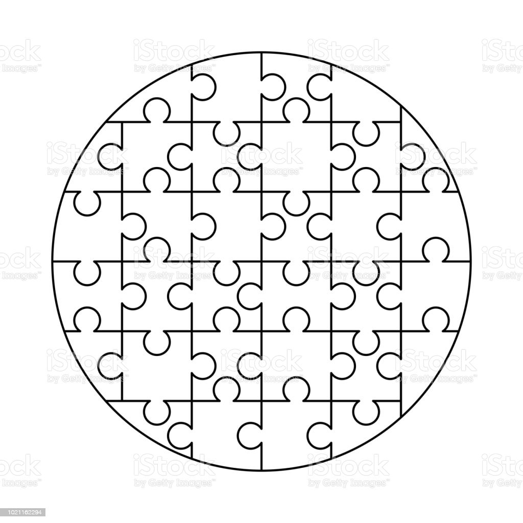 32 Weiße Puzzles Teile In Eine Runde Form Angeordnet Jigsaw Puzzle ...