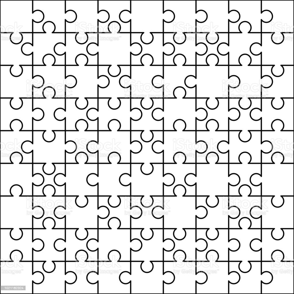 81 White Puzzles Pieces Arranged In A Square Jigsaw Puzzle Template ...