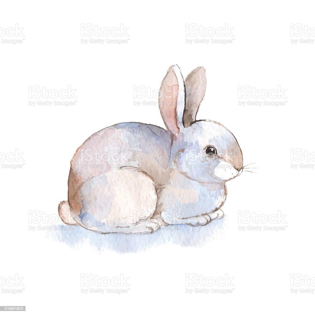 White rabbit 2. Watercolor illustration in vector vector art illustration