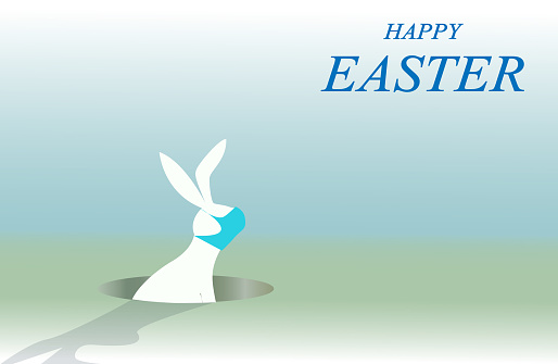White rabbit, card of Happy easter after Covid-19.