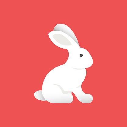 White Rabbit Flat Icon. Flat Vector Illustration Symbol Design Element