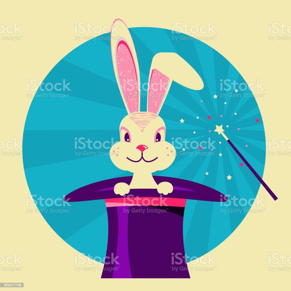 Conejo blanco en el sombrero mágico. Etiqueta vector de show de magia  ilustración de conejo 164968a164b