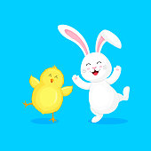 Cartoon character design. Easter holiday concept. Vector illustration isolated on blue background.