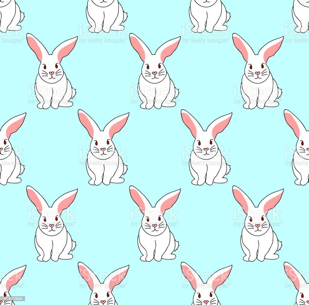 Conejo blanco en azul menta fondo - ilustración de arte vectorial