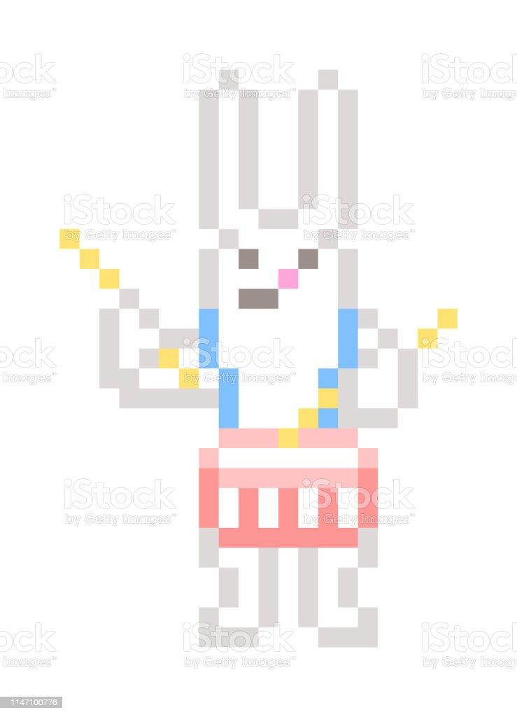 Lapin Blanc Jouant Caisse Claire Pixel Art Personnage Isolé