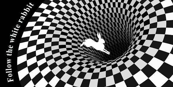 White rabbit runs and falls into a hole