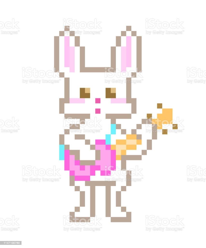 Chant De Lapin Blanc Et Jouant La Guitare électrique Rose