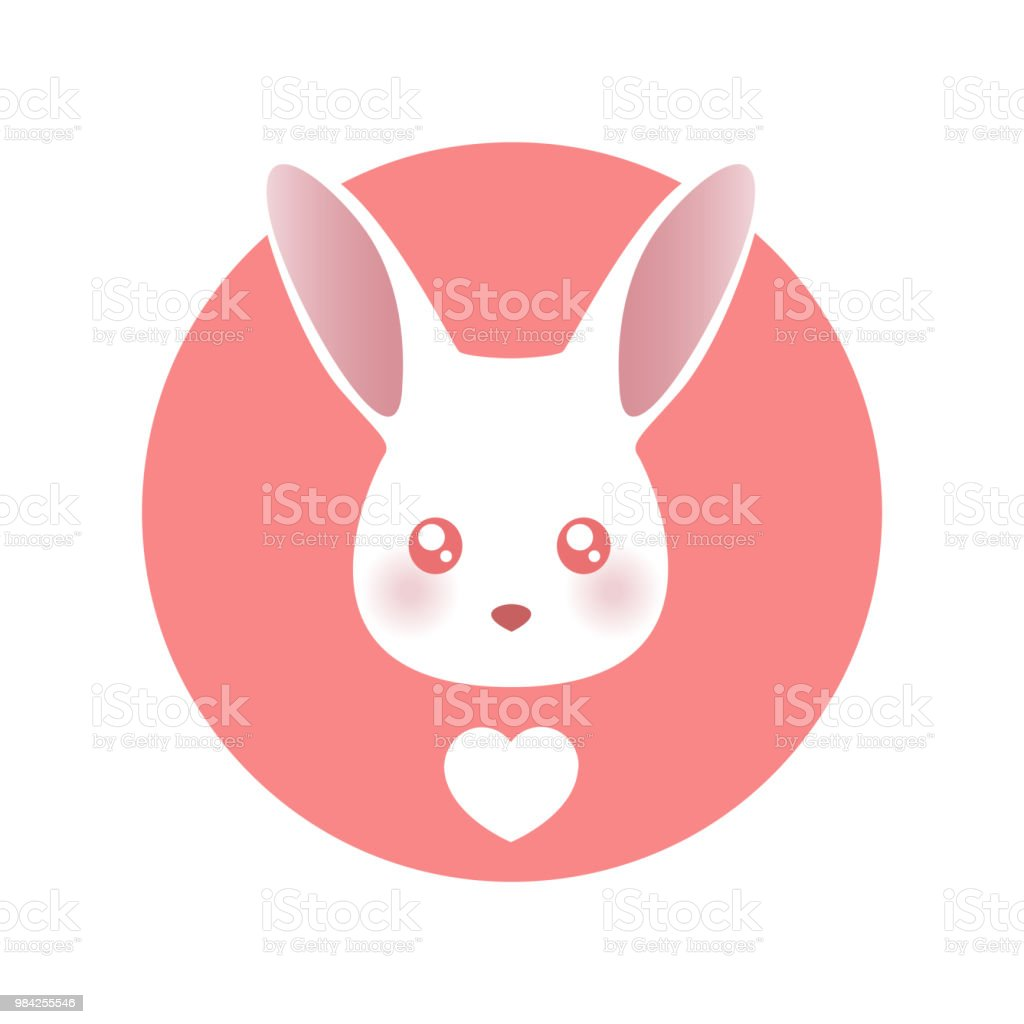 White Rabbit Vector Illustration Isolated On White Background Stock