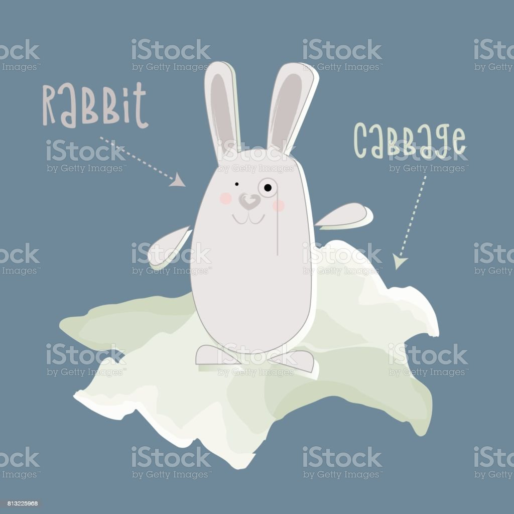 White Rabbit With Monocle In Cabbage Leaves Blue Background Stock