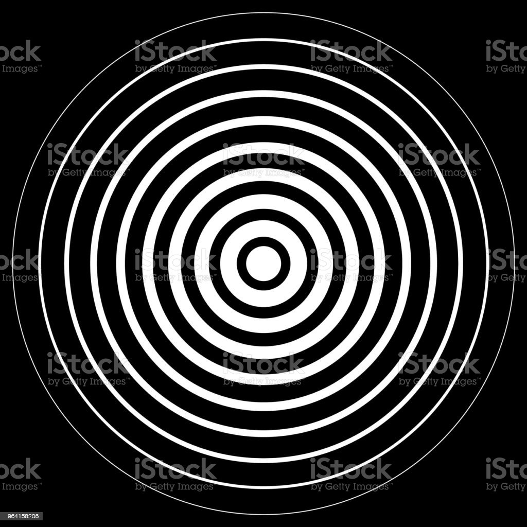 White radiation concentric cirles on black background vector art illustration