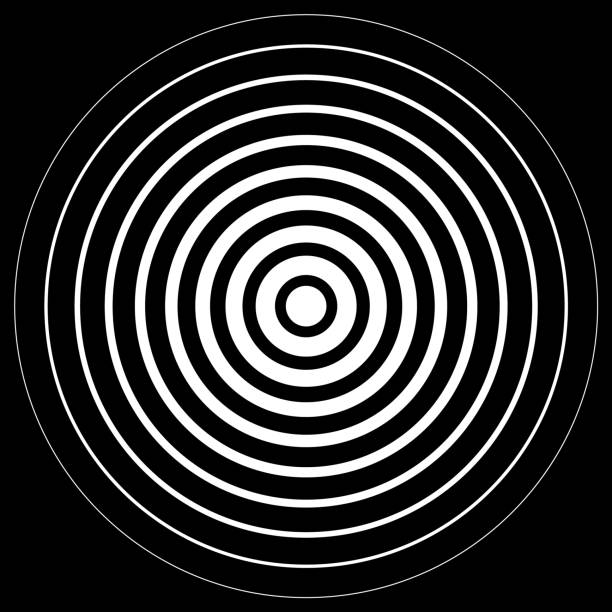white radiation concentric cirles on black background - repetition stock illustrations