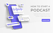 istock White realistic 3d smartphone. Webinar, online training, radio show or audio blog podcast concept. Mobile app infographic template with buttons and ui sliders. Interface for audio control illustration 1211838216
