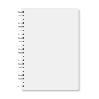 White realistic a5 notebook closed with shadows