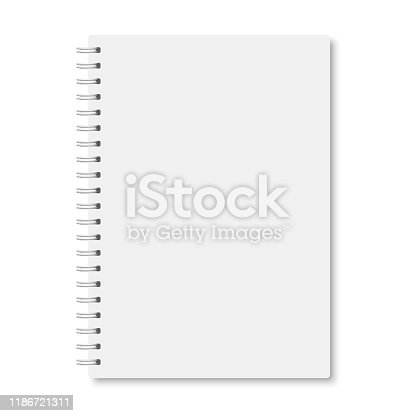 White realistic a5 notebook closed with soft shadows. Vector vertical blank copybook with metallic white spiral on white background. Mock up of organizer or diary isolated.