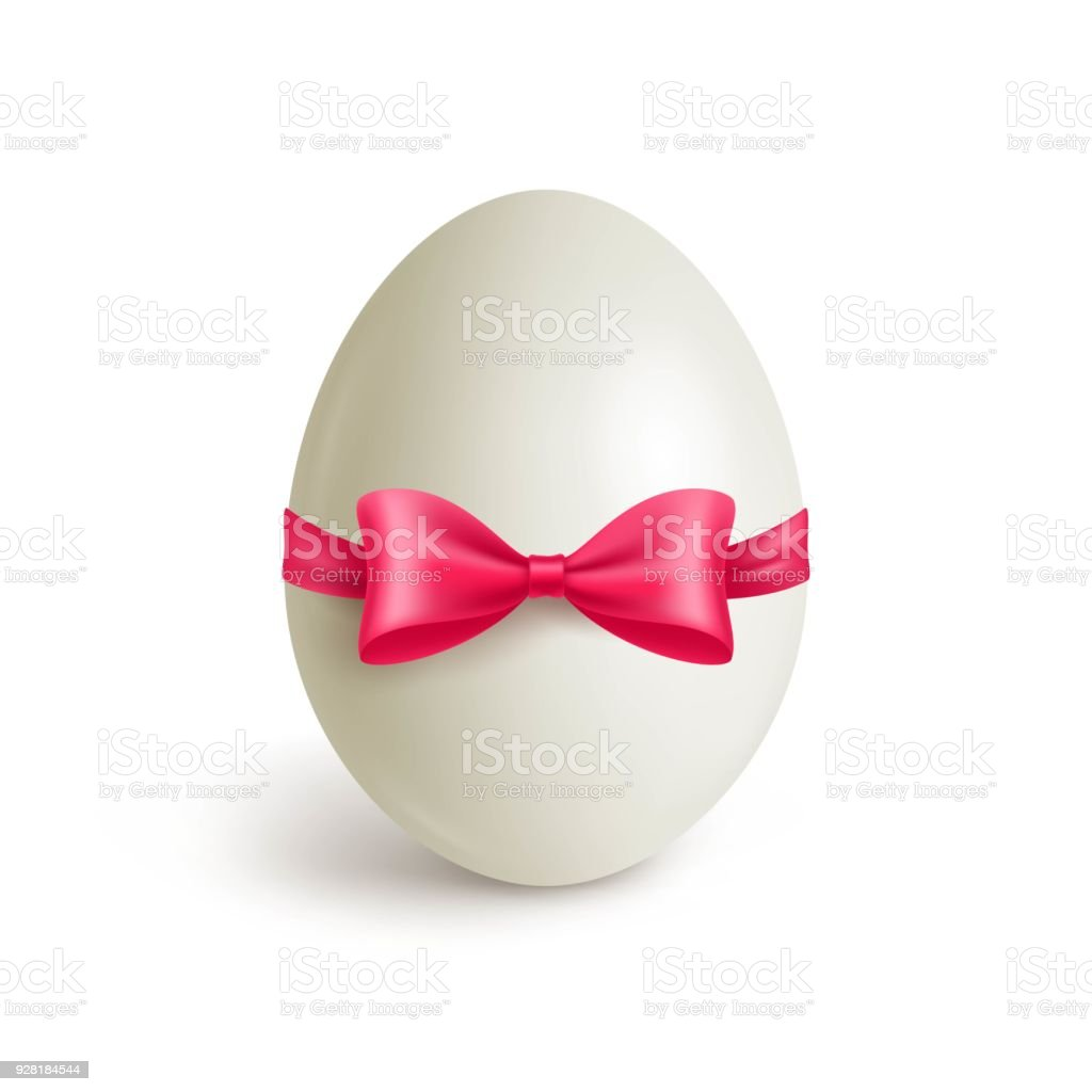 White realistic chicken egg with red bow vector art illustration