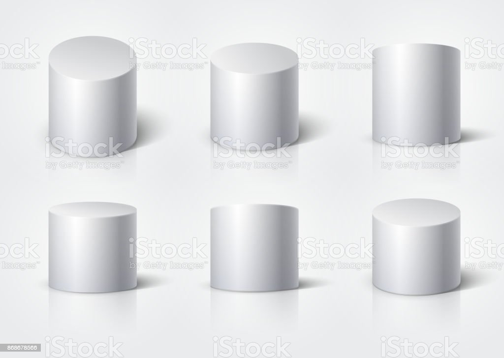 White realistic cylinder, empty stand round podium isolated. 3d geometric shapes vector set vector art illustration