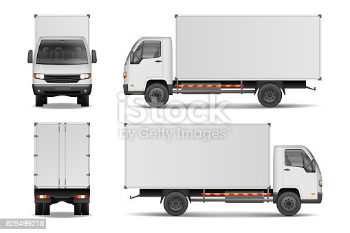 istock White realistic delivery cargo truck. Lorry for advertising side, front and rear view isolated on white background. Delivery cargo truck vector illustration mockup 825499218