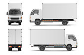 White realistic delivery cargo truck. Lorry for advertising side, front and rear view isolated on white background. Delivery cargo truck vector illustration mockup