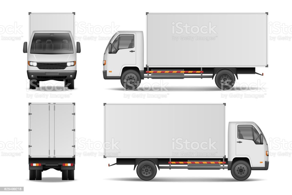 White realistic delivery cargo truck. Lorry for advertising side, front and rear view isolated on white background. Delivery cargo truck vector illustration mockup vector art illustration