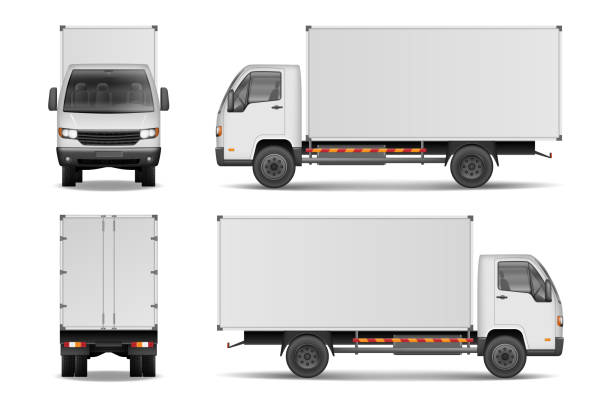 white realistic delivery cargo truck. lorry for advertising side, front and rear view isolated on white background. delivery cargo truck vector illustration mockup - delivery van stock illustrations, clip art, cartoons, & icons