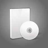 White realistic isolated DVD, CD, Blue-Ray case with disk