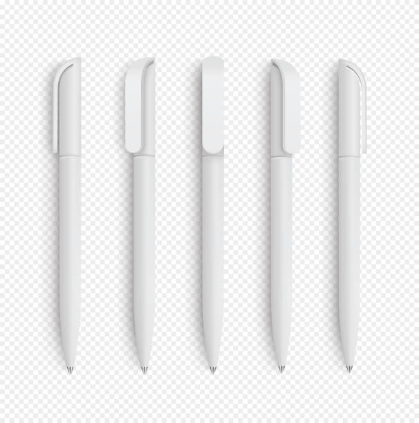 white realistic pen set on isolated background. vector set of corporate identity, branding stationery. realistic vector eps10 - stock vector. - pióro przyrząd do pisania stock illustrations