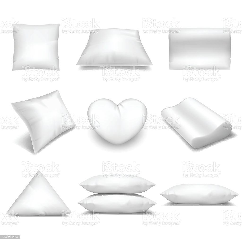White realistic pillows set vector art illustration