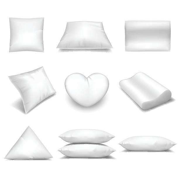 White realistic pillows set vector art illustration