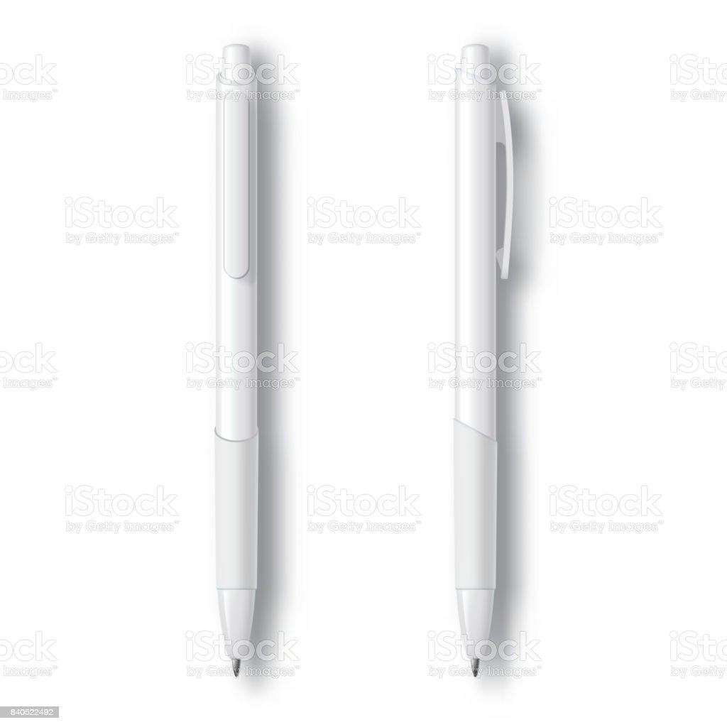 White Realistic Set Pen. vector art illustration
