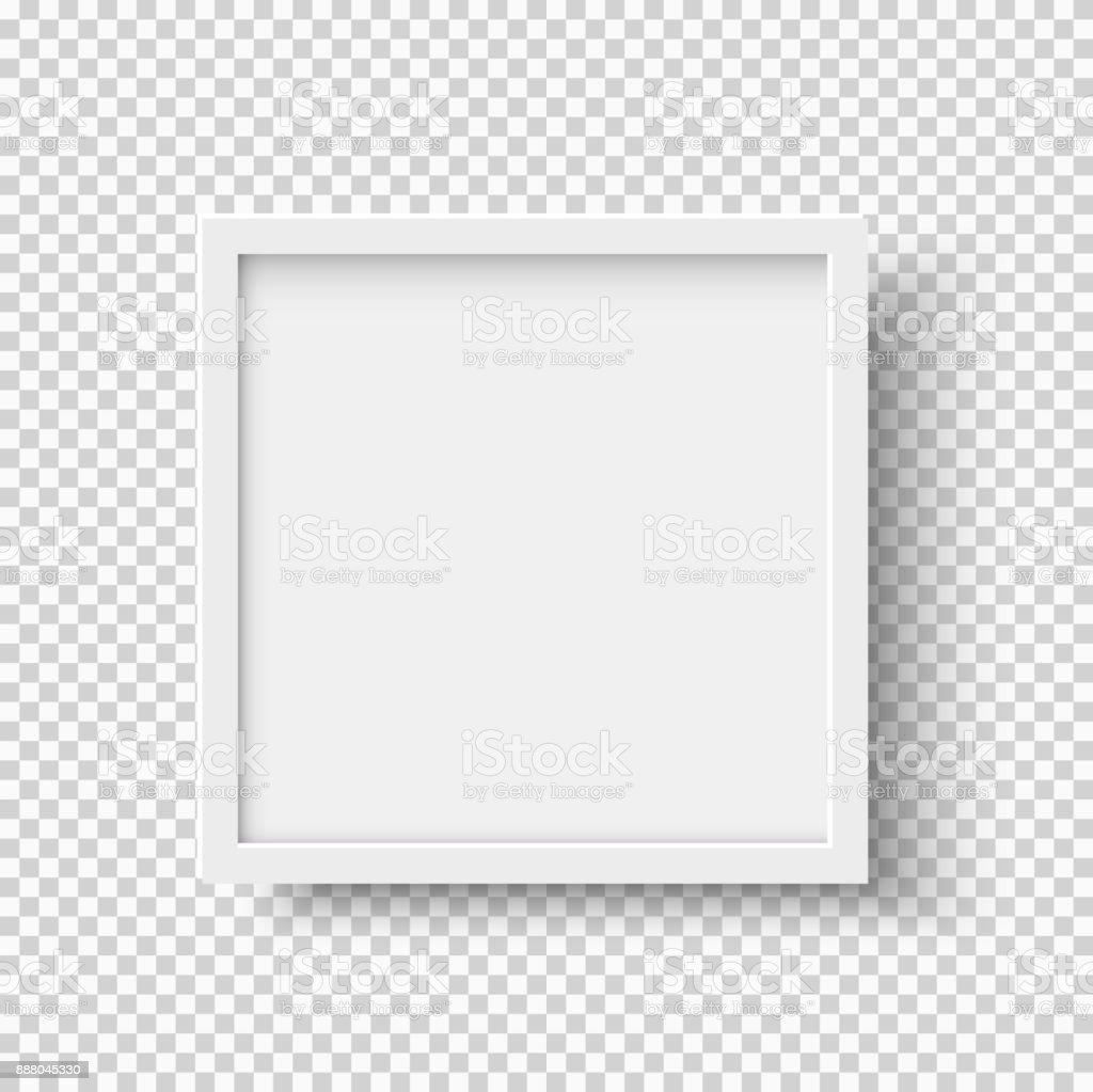 Cadre photo carré vide réaliste blanc sur fond transparent - Illustration vectorielle