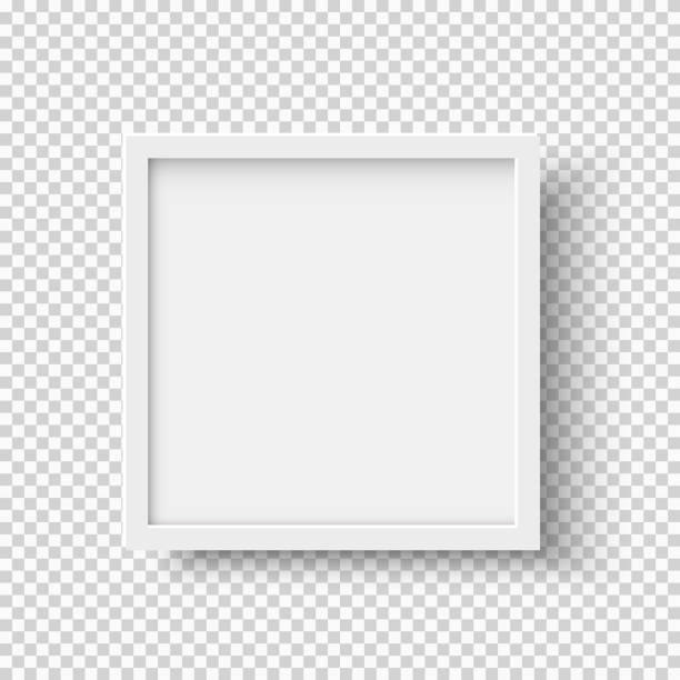 White realistic square empty picture frame on transparent background White realistic square empty picture frame on transparent background. Blank white picture frame mockup template isolated on neutral background. Vector illustration photography stock illustrations