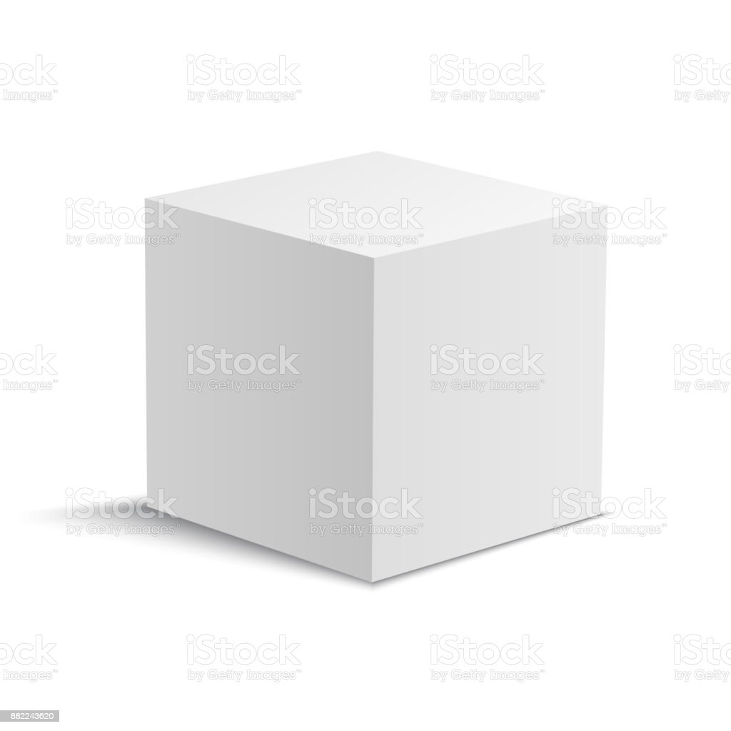 White realistic vector cube. White square box.
