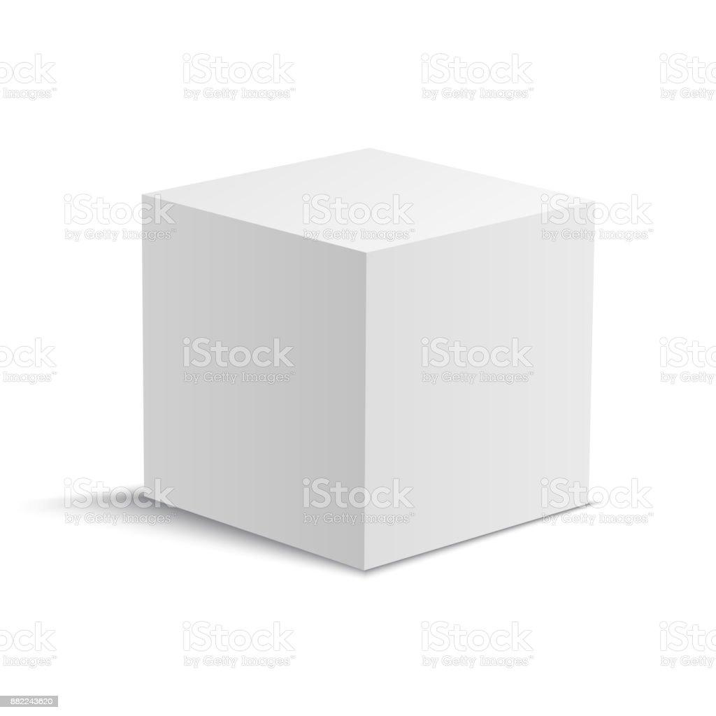 White realistic vector cube. White square box. vector art illustration