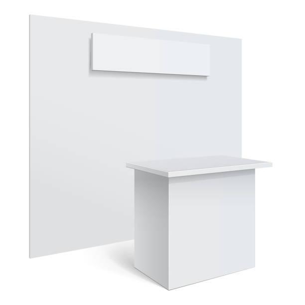 weiße rezeption oder information desk. - ausstellungstische stock-grafiken, -clipart, -cartoons und -symbole