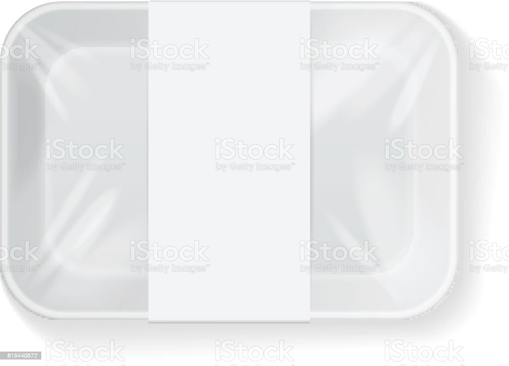 White Rectangle Blank Styrofoam Plastic Food Tray Container Wiith Label. Vector Mock Up Template vector art illustration
