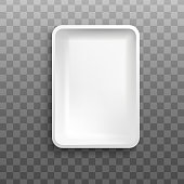 istock White rectangle foam tray from top view isolated on transparent background 1210469565