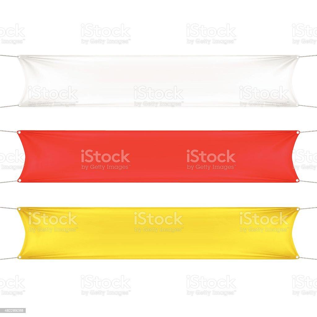 Blanco, rojo y amarillo l Rectangular Banners con esquinas cuerdas - ilustración de arte vectorial