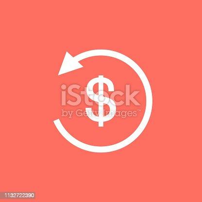 White refund money icon in flat design. Symbol of refund money.
