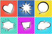 White vector retro speech bubbles set on colorful shiny striped background in pop art style. Blank black outline speech balloons for comics book, advertisement text, web design, badge