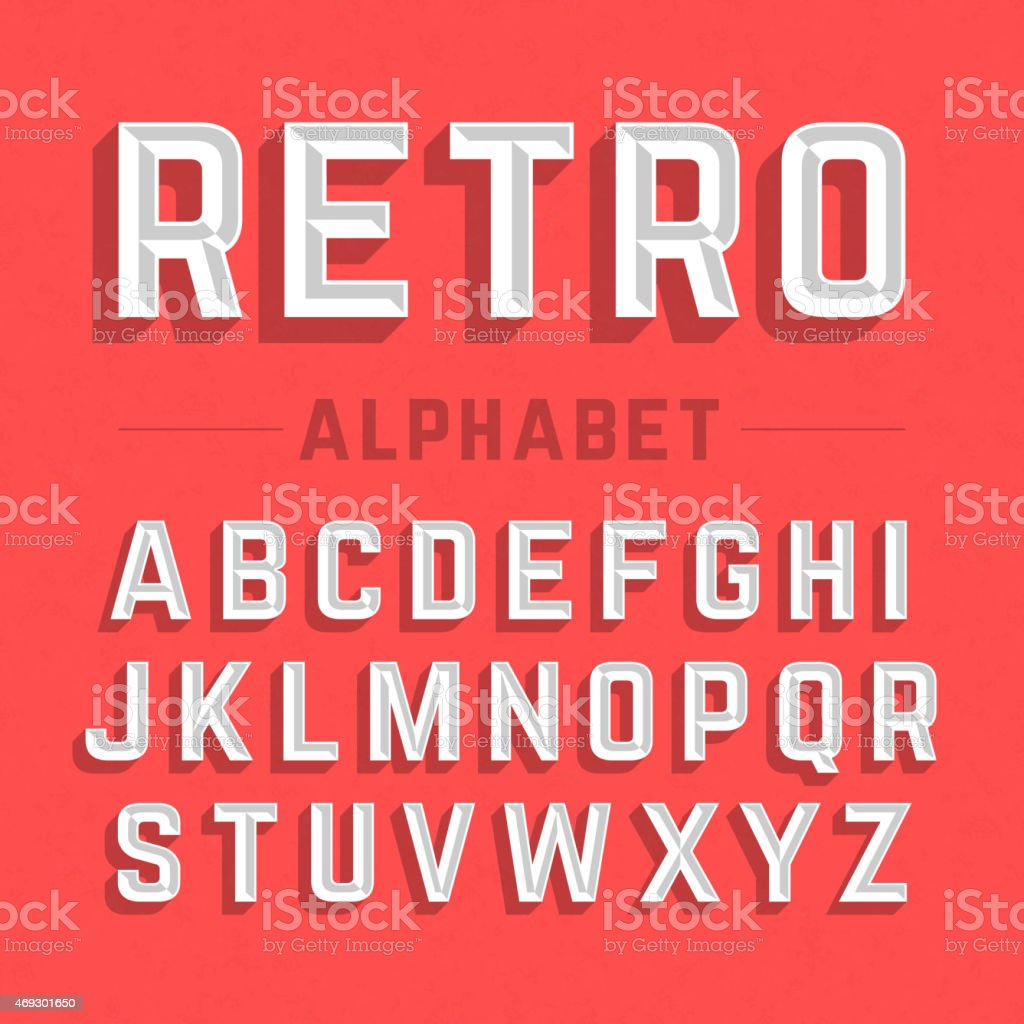 A white retro style alphabet on red vector art illustration
