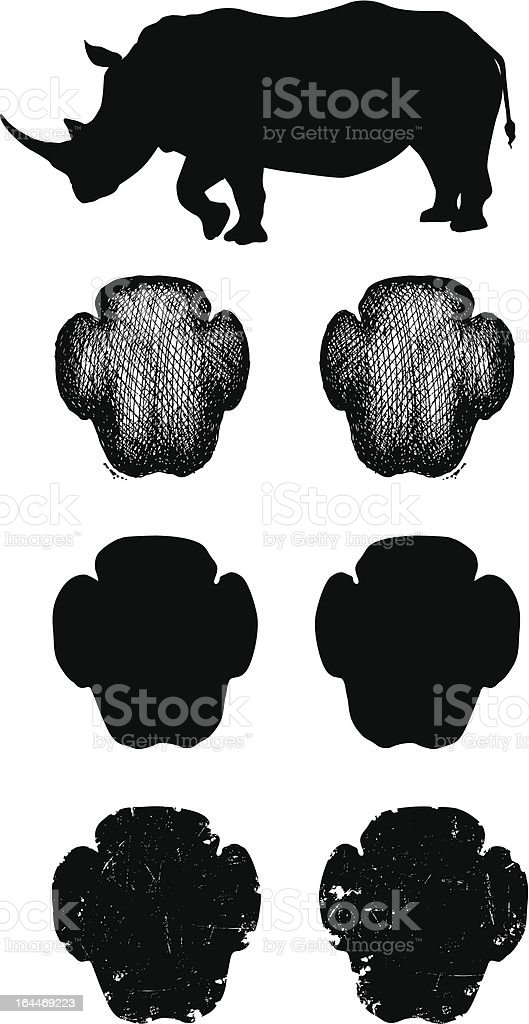 White Rhino tracks or footprints vector art illustration